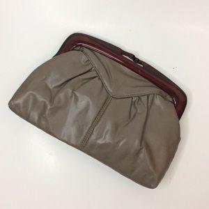 Vintage Grey Faux Leather Clutch Shoulder Bag
